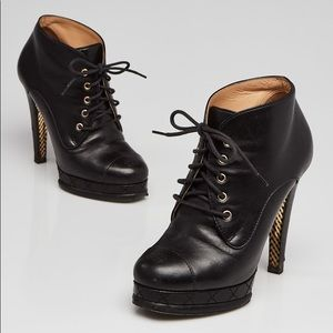 Chanel l Authentic Lace Up Booties